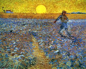 Order Painting Copy : The Sower (Sower with Setting Sun), 1888 by Vincent Van Gogh (1853-1890, Netherlands) | WahooArt.com