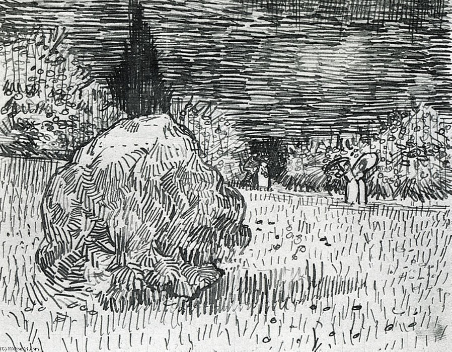 Bush in the Park at Arles, 1888 by Vincent Van Gogh (1853-1890, Netherlands) | Reproductions Vincent Van Gogh | WahooArt.com