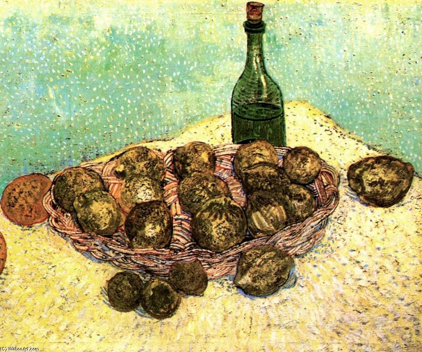 Still Life Bottle, Lemons and Oranges, 1888 by Vincent Van Gogh (1853-1890, Netherlands) | Art Reproductions Vincent Van Gogh | WahooArt.com
