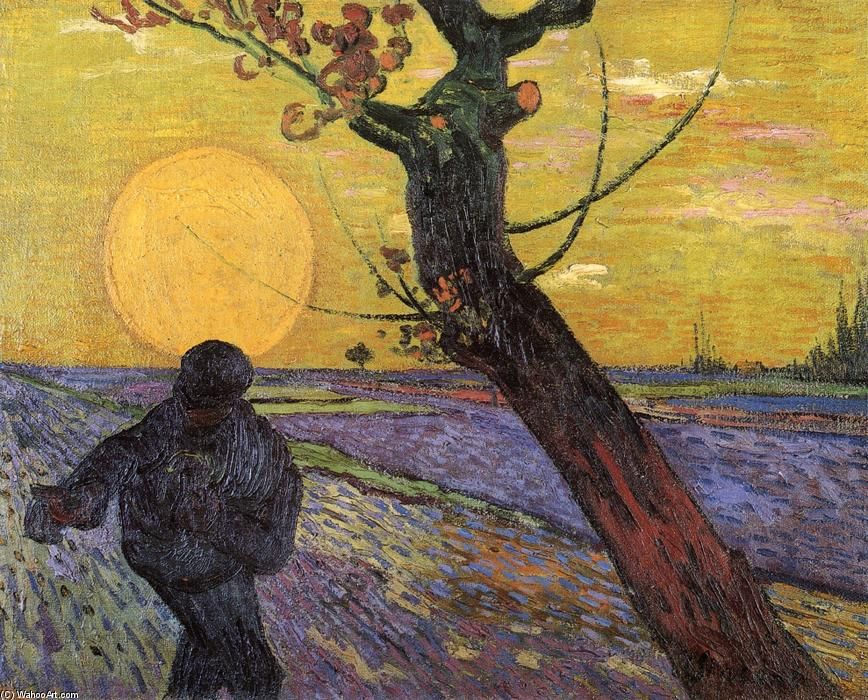 Sower with Setting Sun, 1888 by Vincent Van Gogh (1853-1890, Netherlands) | Museum Quality Copies Vincent Van Gogh | WahooArt.com