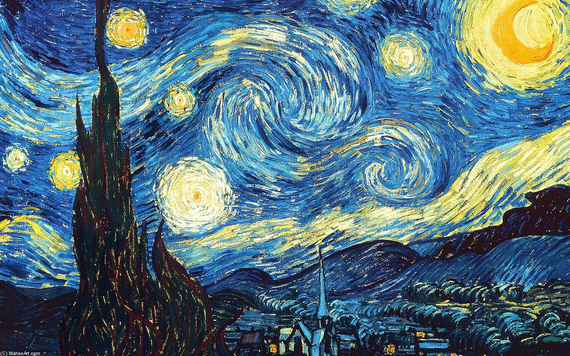 The Starry Night, 1889 by Vincent Van Gogh (1853-1890, Netherlands) | Museum Art Reproductions Vincent Van Gogh | WahooArt.com