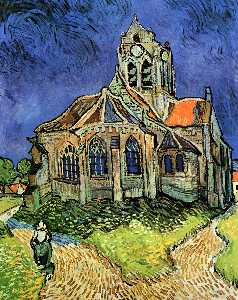 Vincent Van Gogh - The Church at Auvers - (Famous paintings)