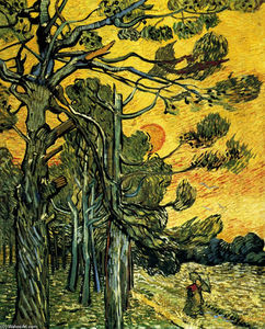 Vincent Van Gogh - Pine Trees against a Red Sky with Setting Sun