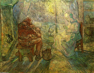 Vincent Van Gogh - Evening - The Watch (after Millet)