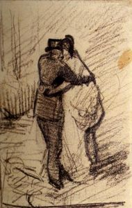 Vincent Van Gogh - A Man and a Woman Seen from the Back