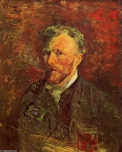 Vincent Van Gogh - Self-Portrait with Pipe and Glass