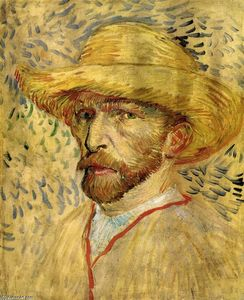 Order Painting Copy : Self-Portrait with Straw Hat, 1887 by Vincent Van Gogh (1853-1890, Netherlands) | WahooArt.com