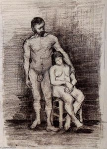 Vincent Van Gogh - Standing Male and Seated Female Nudes