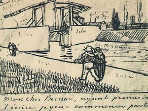 Vincent Van Gogh - Drawbridge with Walking Couple