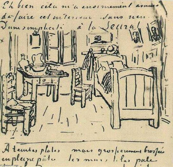 Vincent's Bedroom, Ink by Vincent Van Gogh (1853-1890, Netherlands)