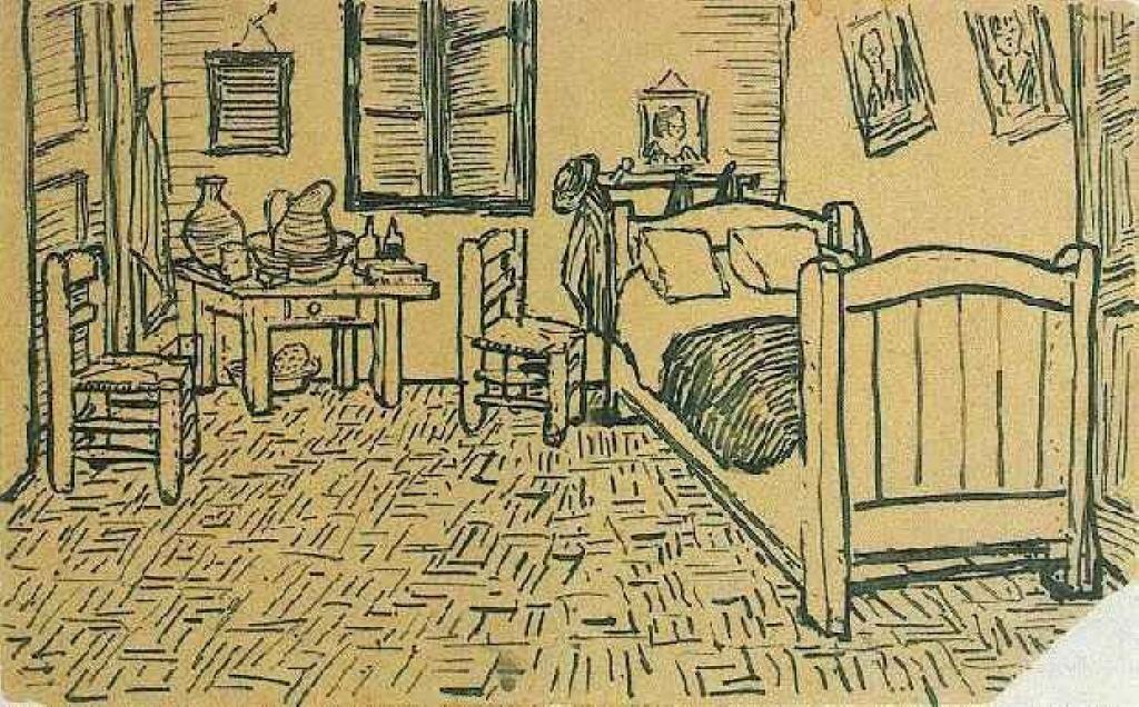 Vincent's Bedroom in Arles, Ink by Vincent Van Gogh (1853-1890, Netherlands)