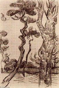 Vincent Van Gogh - Pine Trees Seen against the Wall of the Asylum