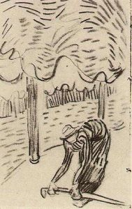 Vincent Van Gogh - A Woman Picking Up a Stick in Front of Trees