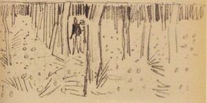 Vincent Van Gogh - Couple Walking between Rows of Trees