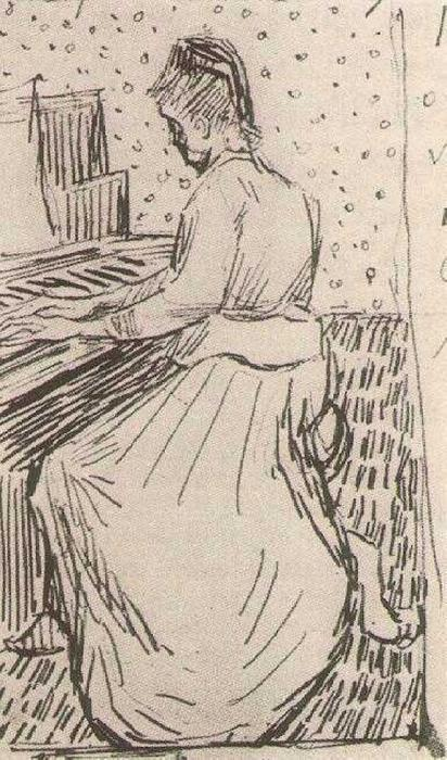 Marguerite Gachet at the Piano, 1890 by Vincent Van Gogh (1853-1890, Netherlands) | Paintings Reproductions Vincent Van Gogh | WahooArt.com