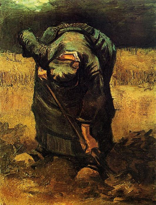 Peasant Woman Digging, 1890 by Vincent Van Gogh (1853-1890, Netherlands) | Paintings Reproductions Vincent Van Gogh | WahooArt.com