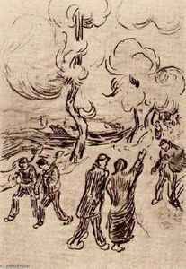 Vincent Van Gogh - Several Figures on a Road with Trees