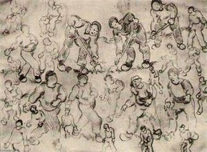 Vincent Van Gogh - Sheet with Numerous Figure Sketches