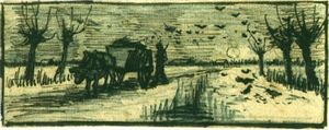 Vincent Van Gogh - Oxcart in the Snow