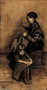 Vincent Van Gogh - Woman Sewing, with a Girl