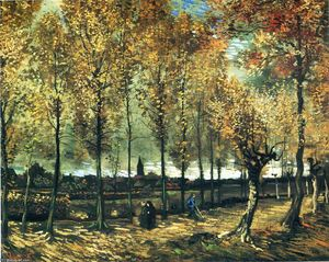 Vincent Van Gogh - Lane with poplars near Nuenen - (Famous paintings)
