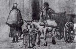 Vincent Van Gogh - Donkey Cart with Boy and Scheveningen Woman