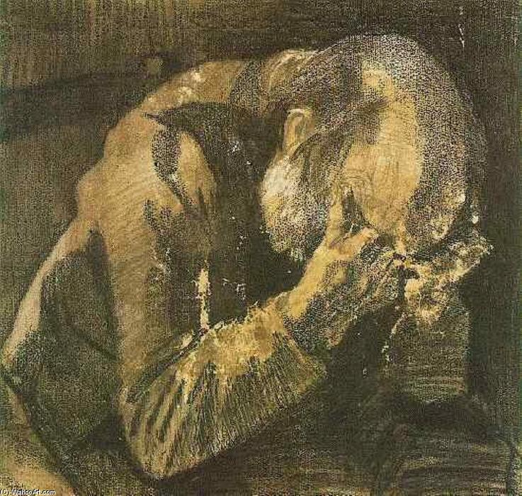 Buy Museum Art Reproductions | Man with his head in his hands, 1882 by Vincent Van Gogh (1853-1890, Netherlands) | WahooArt.com