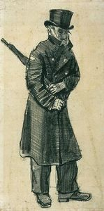 Vincent Van Gogh - Orphan Man with Top Hat and Umbrella Under his Arm