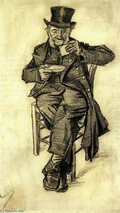 Vincent Van Gogh - Orphan Man with Top Hat, Drinking Coffee