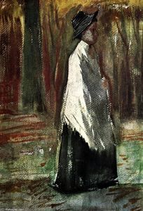 Vincent Van Gogh - Woman with White Shawl in a Wood