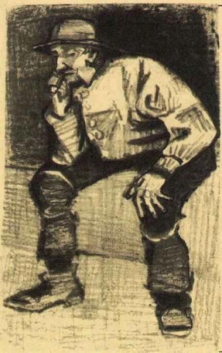 Fisherman with Sou'wester, Sitting with Pipe, Pencil by Vincent Van Gogh (1853-1890, Netherlands)