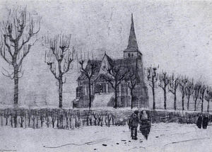 Vincent Van Gogh - The Church in Nuenen in Winter