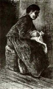 Vincent Van Gogh - Woman Sitting on a Basket, Sewing