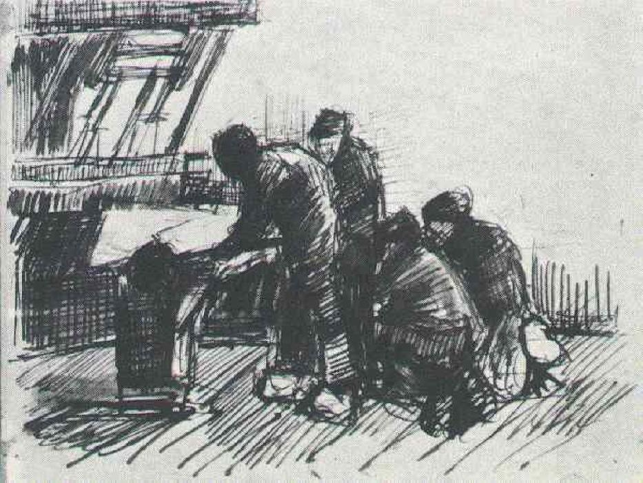 Weaver with Other Figures in Front of Loom, 1884 by Vincent Van Gogh (1853-1890, Netherlands) | Museum Art Reproductions Vincent Van Gogh | WahooArt.com