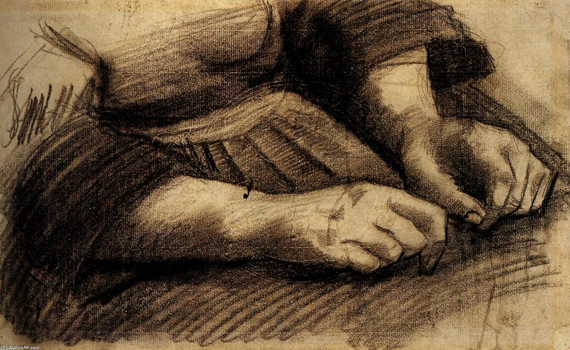 Lap with Hands, 1885 by Vincent Van Gogh (1853-1890, Netherlands) | Paintings Reproductions Vincent Van Gogh | WahooArt.com