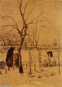 Vincent Van Gogh - Parsonage Garden in the Snow with Three Figures
