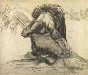 Vincent Van Gogh - Peasant Woman, Picking Up a Sheaf of Grain