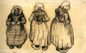 Vincent Van Gogh - Three Studies of a Woman with a Shawl