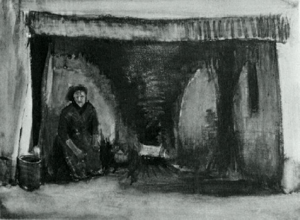 Woman by the Fireplace, 1885 by Vincent Van Gogh (1853-1890, Netherlands) | Art Reproductions Vincent Van Gogh | WahooArt.com
