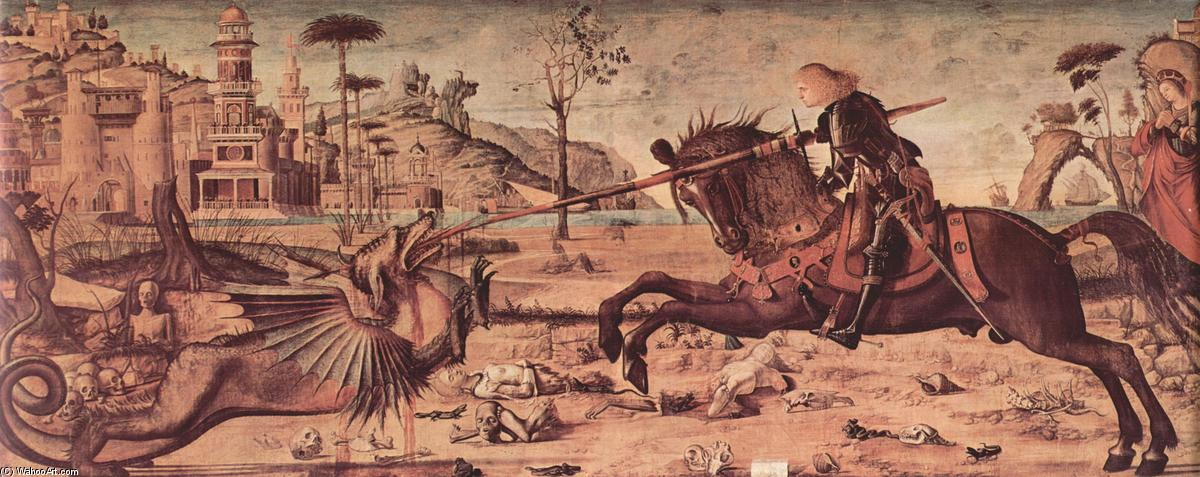 St. George Killing the Dragon, Oil On Canvas by Vittore Carpaccio (1465-1526, Italy)