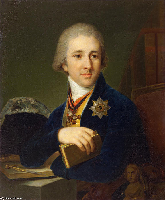 Portrait of the author Alexander Labsin, Oil On Canvas by Vladimir Lukich Borovikovsky (1757-1825)