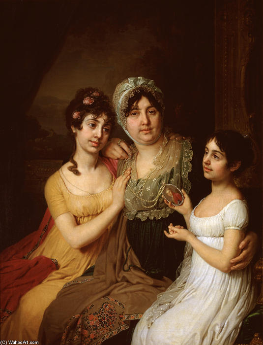 Portrait of A.I. Bezborodko with daughters, 1803 by Vladimir Lukich Borovikovsky (1757-1825) | Museum Quality Reproductions | WahooArt.com