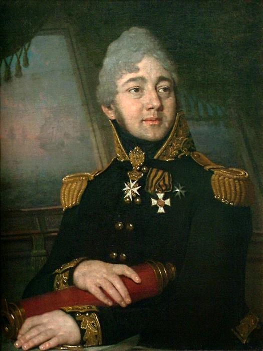 Portrait of the Russian poet Evgeny Boratynsky, Oil On Canvas by Vladimir Lukich Borovikovsky (1757-1825)