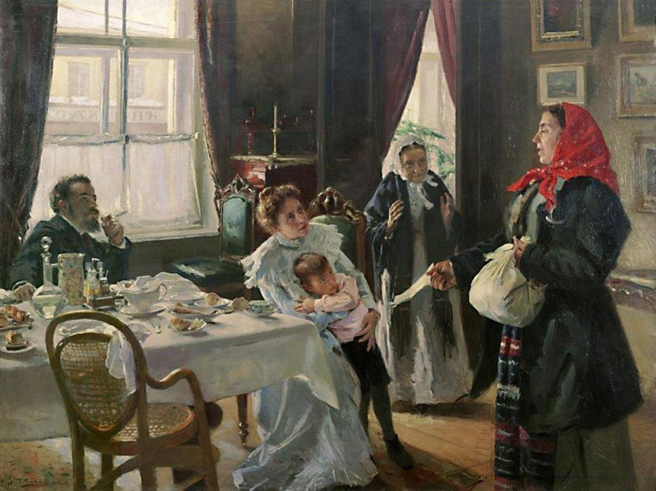 Two mothers. Native mother and stepmother., 1906 by Vladimir Yegorovich Makovsky (1846-1920, Russia) | Art Reproductions Vladimir Yegorovich Makovsky | WahooArt.com