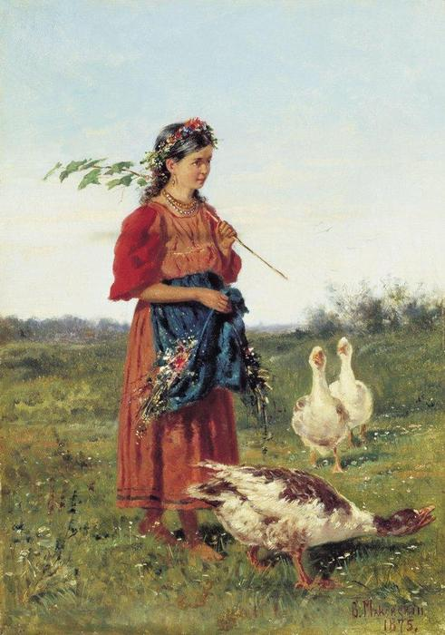 A girl with geese, 1875 by Vladimir Yegorovich Makovsky (1846-1920, Russia) | Famous Paintings Reproductions | WahooArt.com