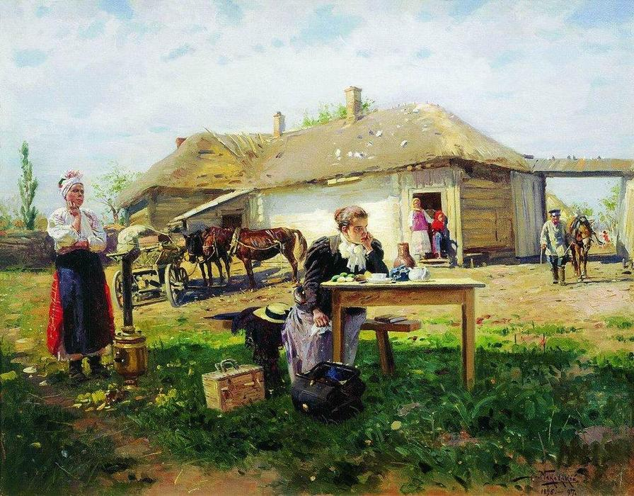 Arrival of a School Mistress in the Countryside, 1897 by Vladimir Yegorovich Makovsky (1846-1920, Russia) | Museum Quality Reproductions | WahooArt.com