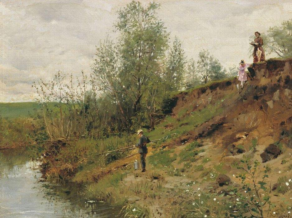 Fishing, 1884 by Vladimir Yegorovich Makovsky (1846-1920, Russia) | Famous Paintings Reproductions | WahooArt.com