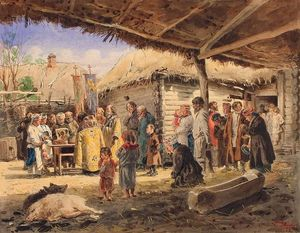 Vladimir Yegorovich Makovsky - Prayer service at the farm in Ukraine