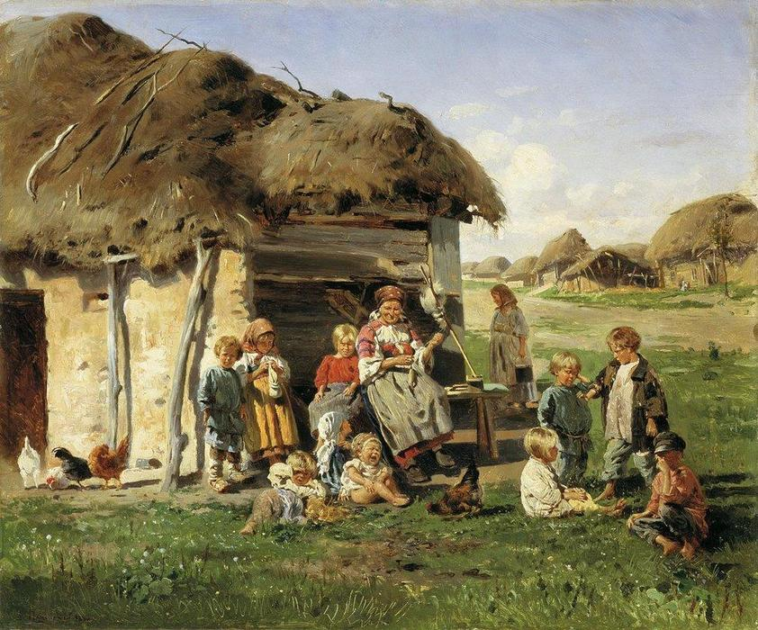 Peasant children, 1890 by Vladimir Yegorovich Makovsky (1846-1920, Russia) | Famous Paintings Reproductions | WahooArt.com