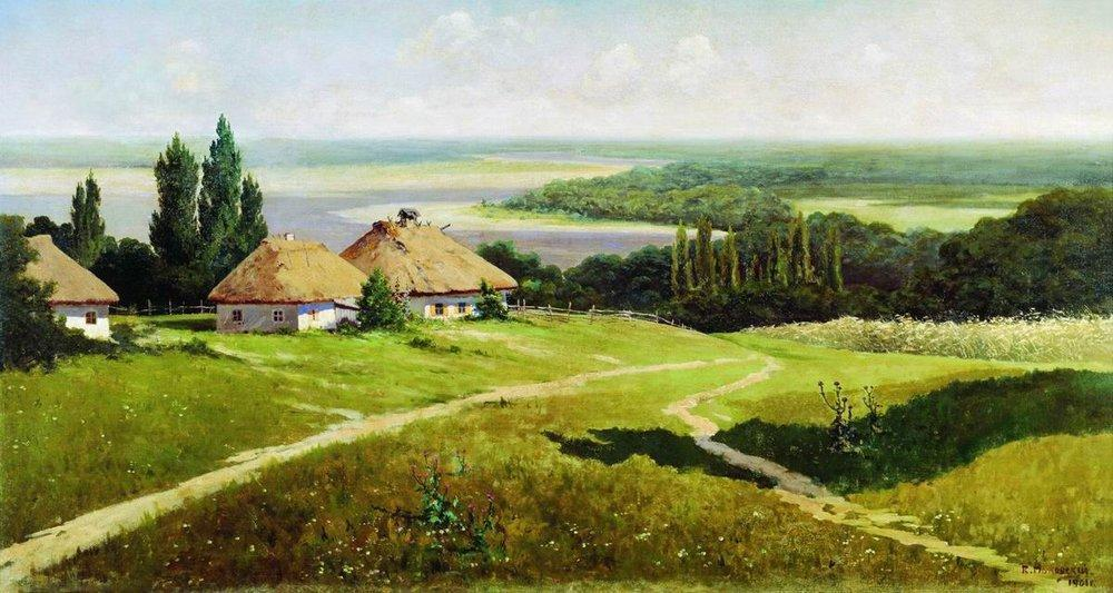 Order Famous Paintings Reproductions : Ukrainian landscape with huts, 1901 by Vladimir Yegorovich Makovsky (1846-1920, Russia) | WahooArt.com